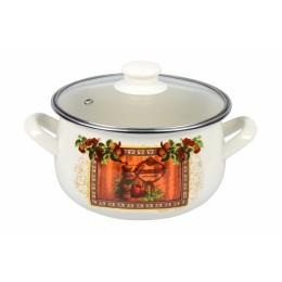 Кастрюля Ardesto AR0325 Italian Gourmet, стеклянная крышка, 2.5 л, айвори