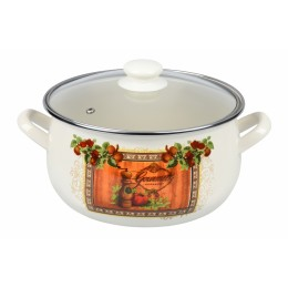 Кастрюля Ardesto AR0345 Italian Gourmet, стеклянная крышка, 4.5 л, айвори