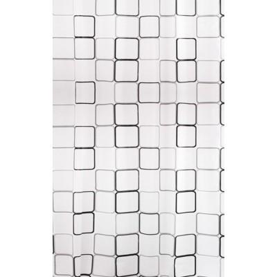 Штора для ванной BISK 06894 PEVA MALTA 2 черная/белая (с набором колец)