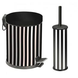 Набор для ванной EFOR METAL 972 металл чёрно-белый (корзина 5л + щётка микро)