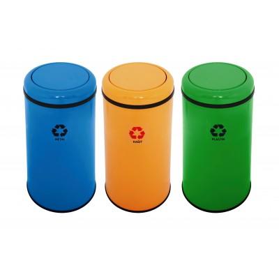 Корзины для сортировки мусора EFOR METAL 1322 с поворотной крышкой 45 л 3 цвета