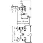 Двухвентильный смеситель для ванны GENEBRE NRC с душевым гарнитуром (68526094366)