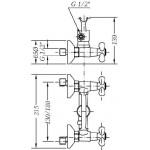 Двухвентильный смеситель для душа GENEBRE NRC c душевым гарнитуром (68531094366)