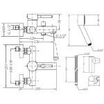 Смеситель для ванны GENEBRE Tau с душевым гарнитуром (65100184566)