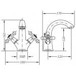 Двухвентильный смеситель для раковины GENEBRE NRC (68506094366)