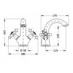 Двухвентильный смеситель для раковины GENEBRE NRC (68506094566)