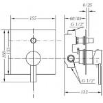 Смеситель для ванны и душа GENEBRE Tau2, встраеваемый, с переключателем (65116294566)
