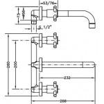 Смеситель для раковины I-22 GENEBRE KROSS скрытый монтаж (68132084566)