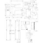 Набор смесителей для ванны со штангой GENEBRE Klip 04KLV17RO (64130164566+64100164566+163845)