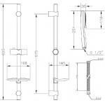 Душевой гарнитур со штангой GENEBRE Kode KO17TA (DXO345+1001356000+163645)
