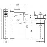 Смеситель для раковины GENEBRE Kenjo высокий c донным клапаном 63136264567 (63136264566+10020445)
