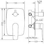 Смеситель для ванны и душа GENEBRE Kode, встраеваемый, на 3 зоны (62118314566)