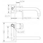 Смеситель для раковины GENEBRE Klip-22, встраеваемый, носик 22см (64132164566)