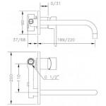 Смеситель для раковины GENEBRE Oslo-22, встраеваемый, носик 22см (65132194566)