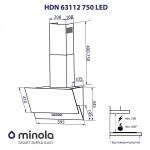 Вытяжка декоративная наклонная Minola HDN 63112 BL 750 LED