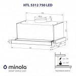 Вытяжка телескопическая Minola HTL 5312 WH 750 LED