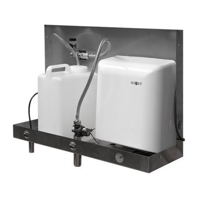 Встраиваемый блок Nofer 12053.FMS со смесителем, дозатором мыла и сушкой для рук за зеркалом