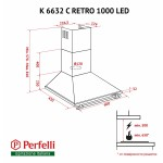 Вытяжка купольная Perfelli K 6632 C BL RETRO 1000 LED