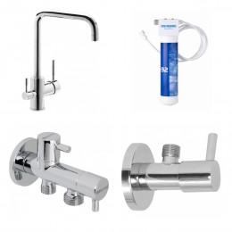 Кухонный смеситель с системой очистки воды GENEBRE FT65702 TAU (65702184566+FT00+310904+310404)