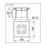 Горловина STYRON STY-504-M-F пластмассовой решёткой (белая) 150х150 мм