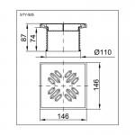 Горловина решёткой STYRON STY-505 из нержавеющей стали, 150х150 мм