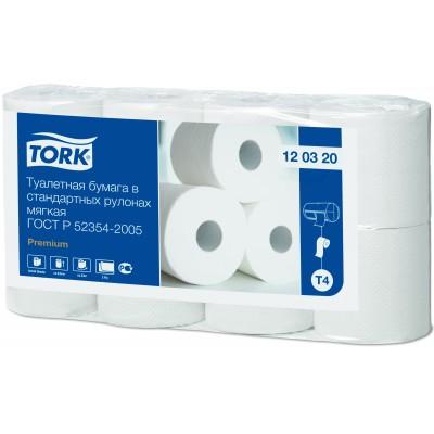 Мягкая туалетная бумага Tork 120320 Premium в стандартных рулонах 8 шт