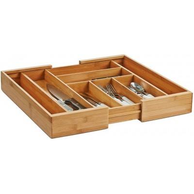 Ящик для столовых приборов Zeller 25277 раздвижной, бамбук, 35-58 x 43 x 6,5 см
